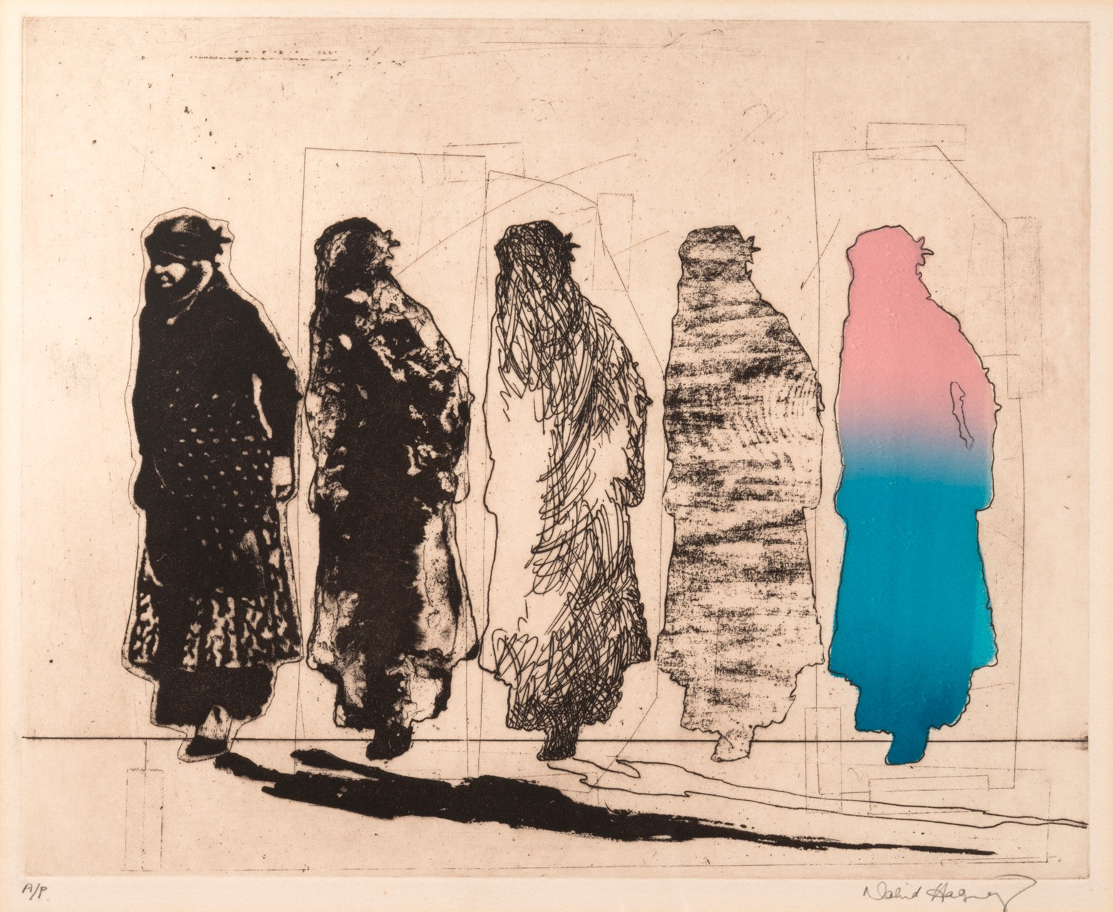 """Kurdish Women"", 1972, Etching/Aquatint and photo-etching, image size 12X15 inches, edition 3/3"