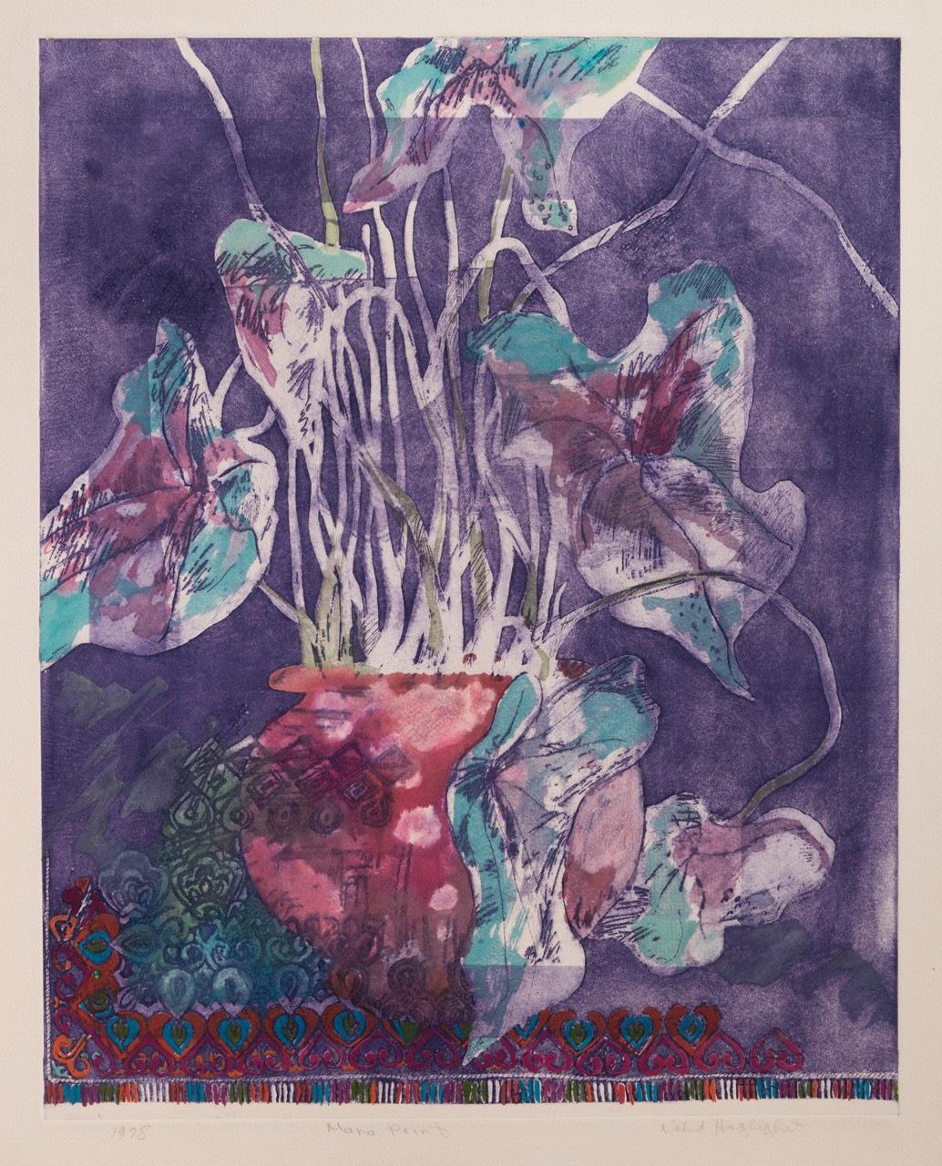 """Red Vase"", 1978, Mono Print (Etched on zinc), image size 20X18 inches"