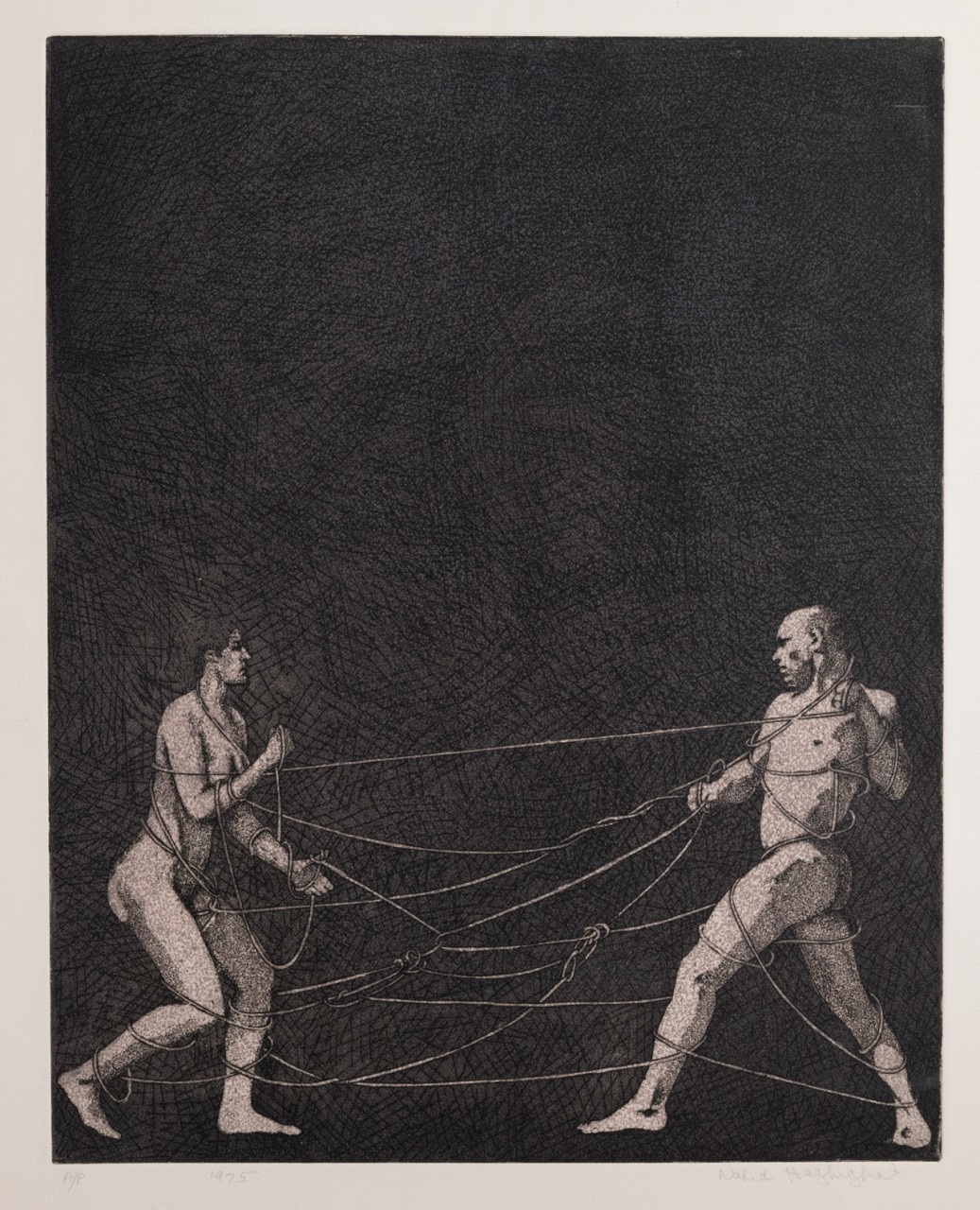 """Struggle"", 1975, Etching/Aquatint, image size 20X16 inches, Edition 2/2"