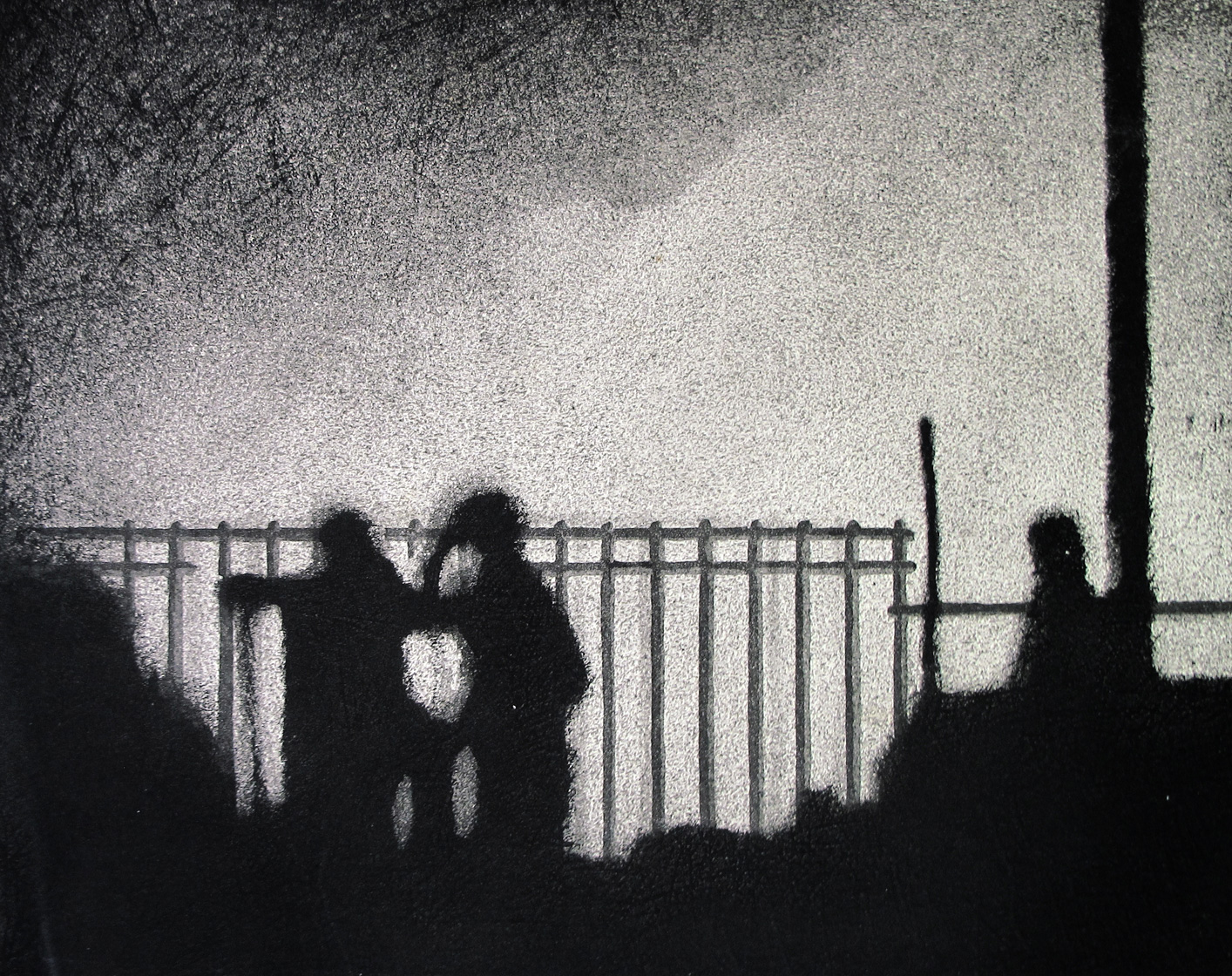 "British Museum, London  ""Surveillance"", Aquatint, image size 15X12 inches"