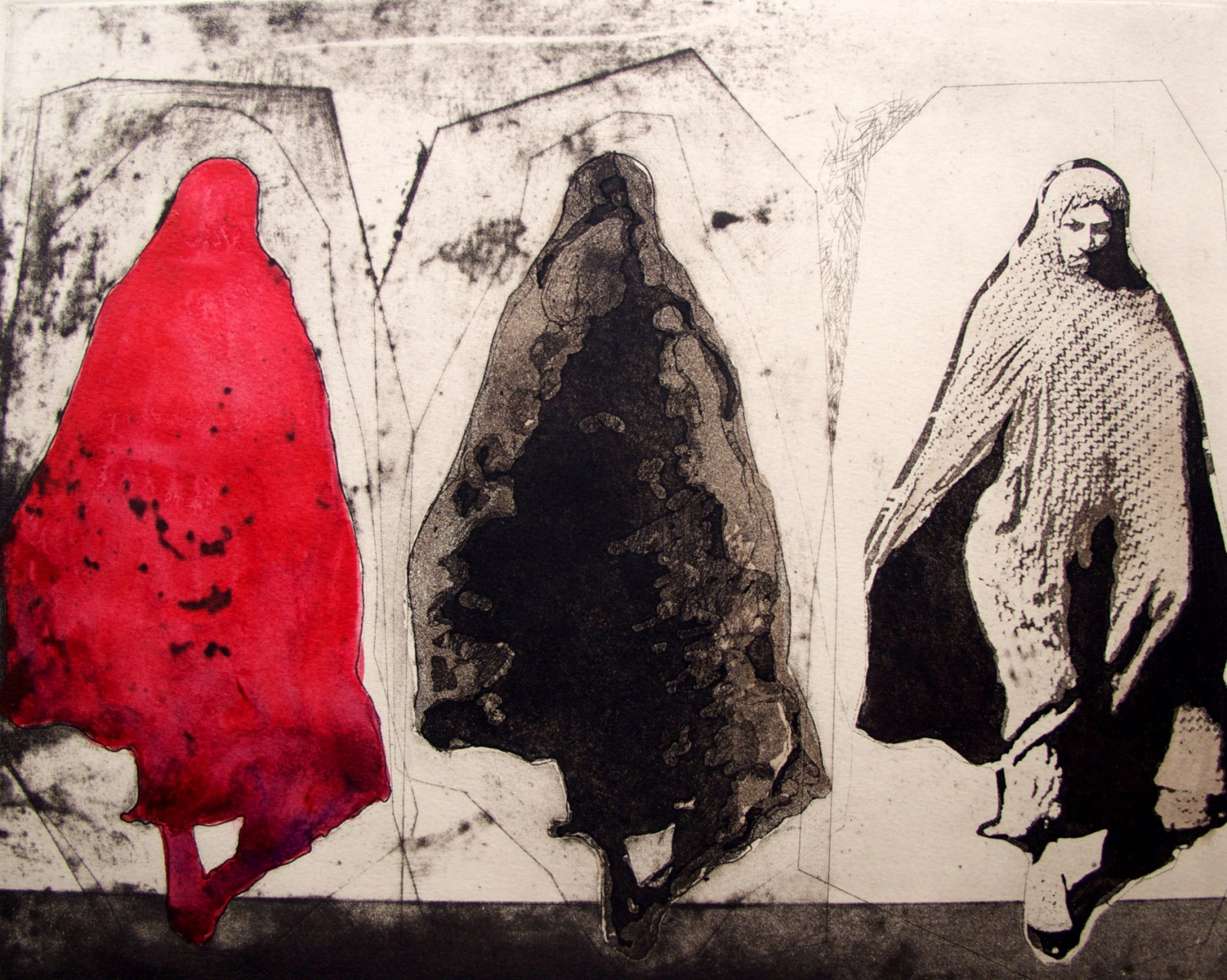 """Red Woman"", 2015, hand painted print, image size 12X15"