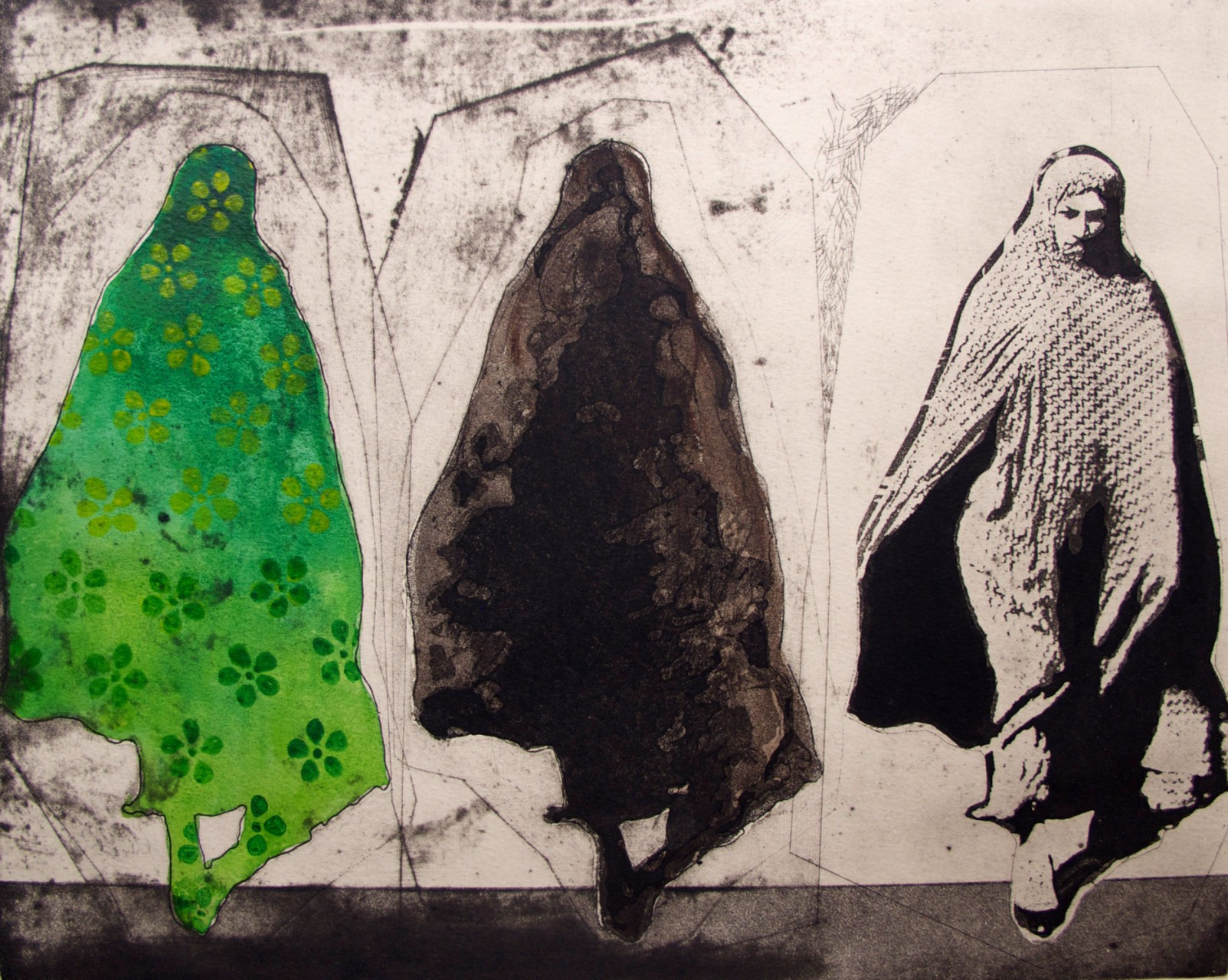 """Green Woman"", 2015, hand painted print, image size 12X15"